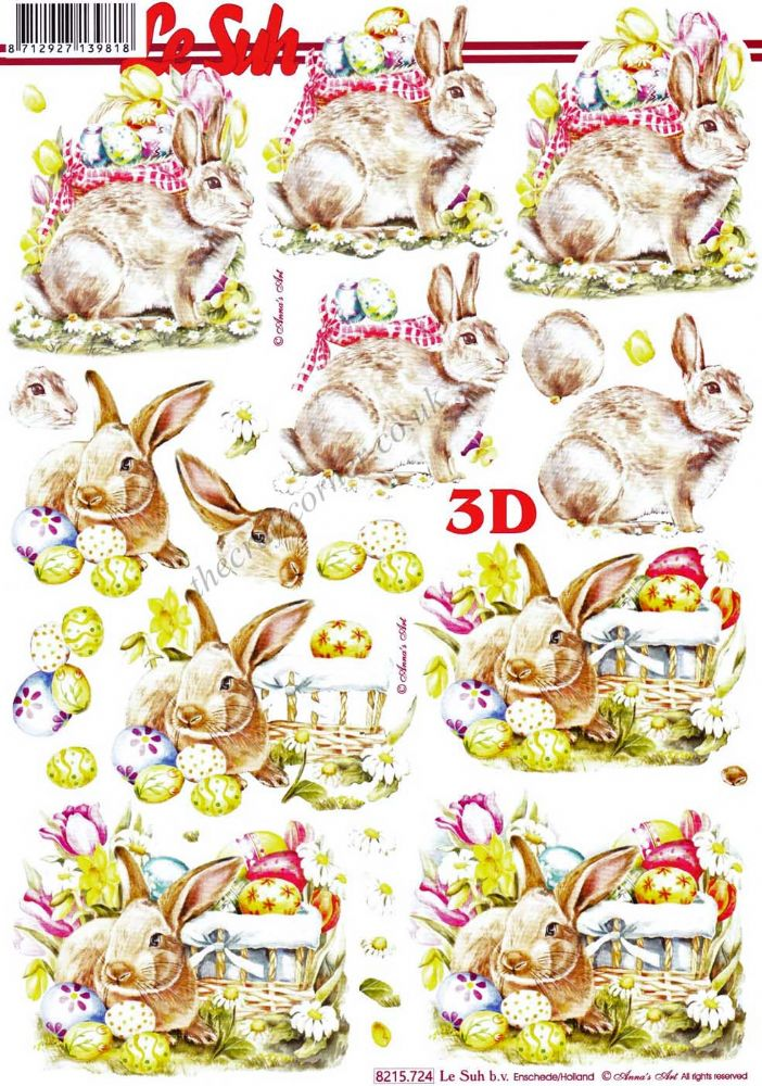 Bunny With Baskets Of Easter Eggs 3d Decoupage Sheet From